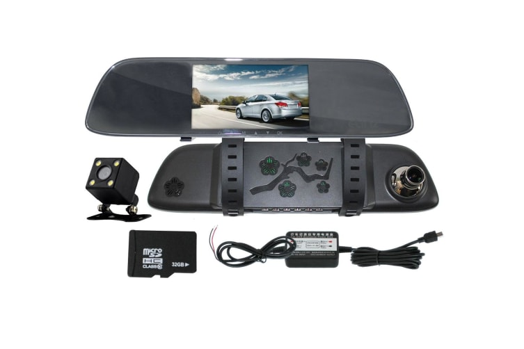 "Elinz 5"" Rearview Mirror Car Dash Cam Reversing Camera Recorder 32GB Hardwire Charger"