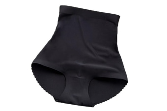 Seamless High Waist Butt Padded Panty With Tummy Trimmer Black L