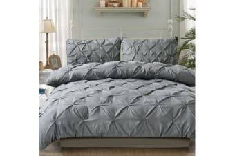 Diamond Pintuck Duvet/Doona/Quilt Cover US Size in CHARCOAL - Queen