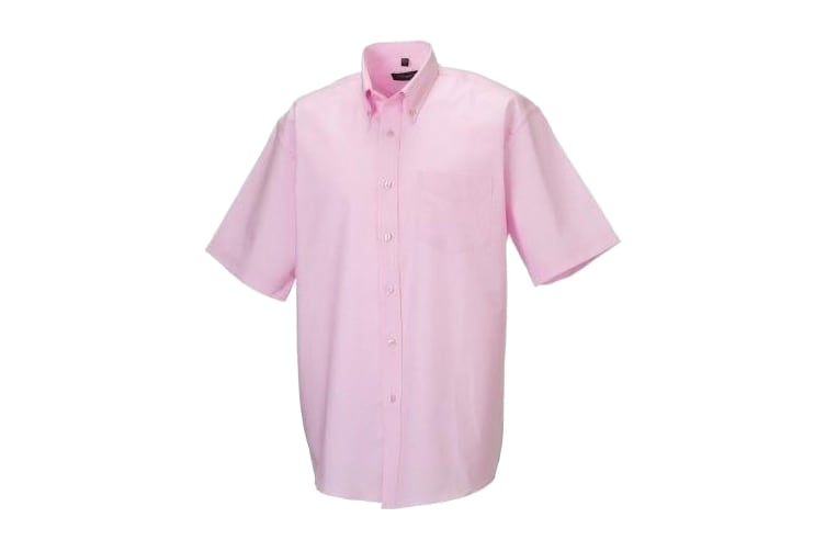 Russell Collection Mens Short Sleeve Easy Care Oxford Shirt (Classic Pink) (14.5inch)