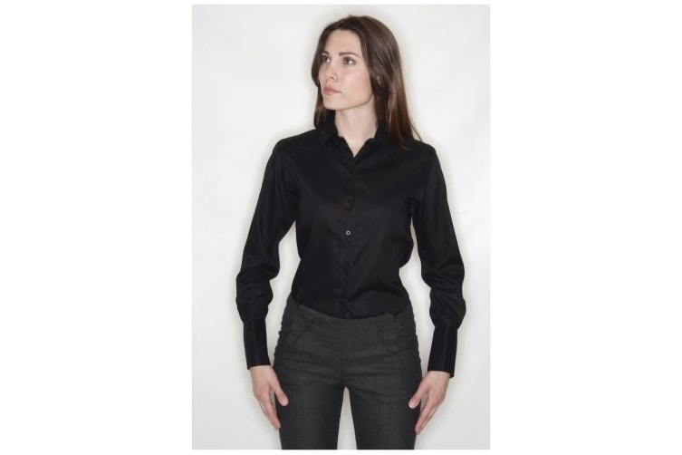 Russell Collection Ladies/Womens Long Sleeve Ultimate Non-Iron Shirt (Black) (XS)
