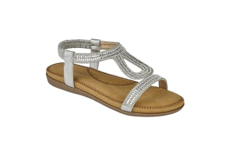 Cipriata Womens/Ladies Nicole Diamante Elasticated Halter Back Sandals (Silver) (7 UK)