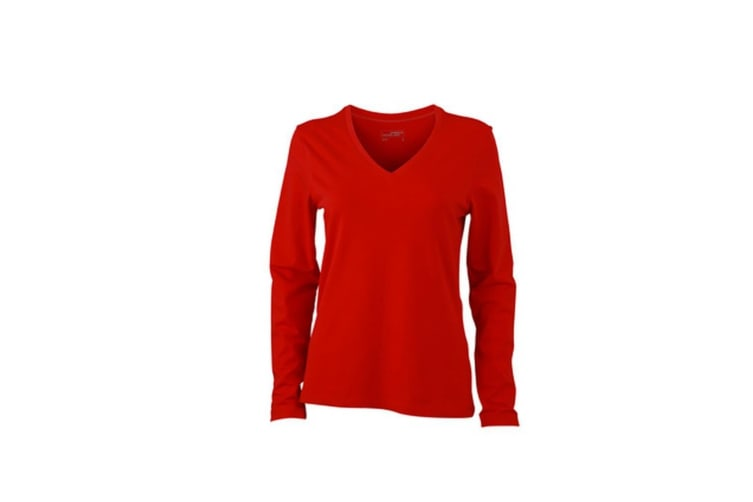 James and Nicholson Womens/Ladies Stretch V-Neck Long-Sleeved Shirt (Red) (L)
