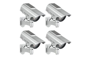 4x LED Solar Power Fake Outdoor CCTV Surveillance Camera - Silver
