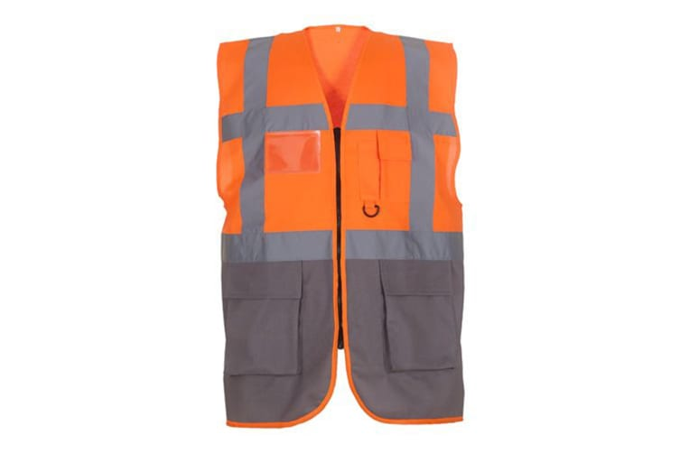 Yoko Hi-Vis Premium Executive/Manager Waistcoat / Jacket (Hi Vis Orange/Grey) (M)