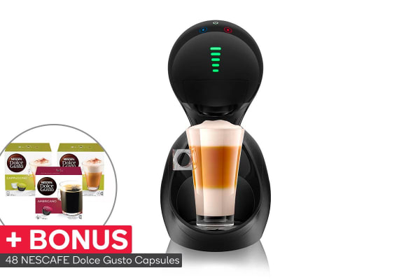 NESCAFE Dolce Gusto Movenza Automatic Capsule Coffee Machine with BONUS 48 Capsules - Brushed Black (NCU800BLK)