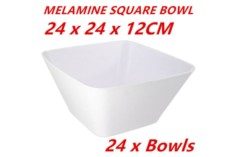 24 x Large Glossy White Melamine SQUARE BOWLS 24CM PARTY FUNCTION EVENT DINNER