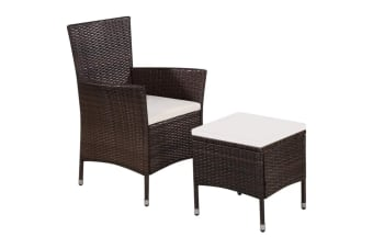 vidaXL Outdoor Chair and Stool with Cushions Poly Rattan Brown