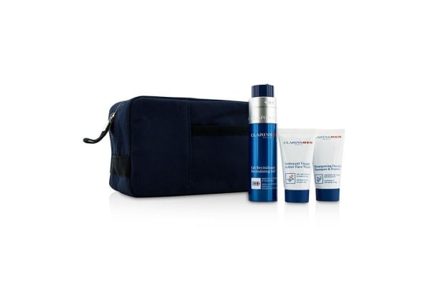 Clarins Clarinsmen Energizing Experts Set: Revitalizing Gel 50ml + Shampoo & Shower 30ml + Active Face Wash 30ml + Bag (3pcs+1bag)