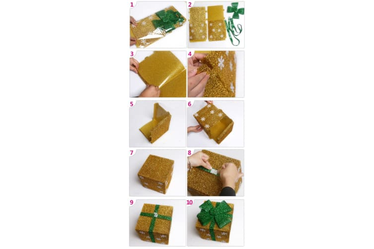 Christmas PVC Gift Candy Box Wedding Cookies Dessert Cake Xmas Decoration Cube - Gold