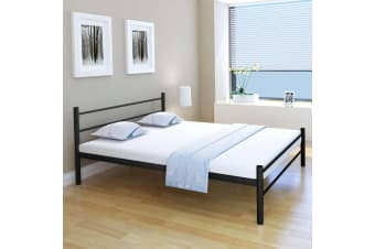 vidaXL Bed Frame Black Metal Queen Size