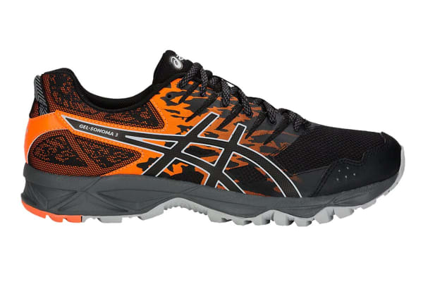 ASICS Men's Gel-Sonoma 3 Trail Running Shoe (Black/Shocking Orange, Size 13)