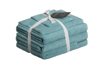 Sheraton Subway Textured 5 Piece Towel Set (Aqua Mist)