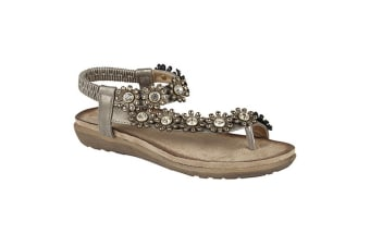 Cipriata Womens/Ladies Salva Toe Post Flower Design Sling Back Sandals (Pewter)