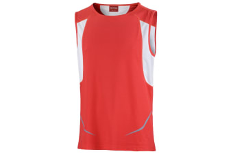 Spiro Mens Sports Athletic Vest Top (Red/White) (2XL)