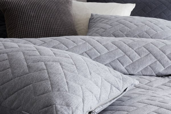 Gioia Casa Quilted Jersey Quilt Cover (Queen, Grey Marle)