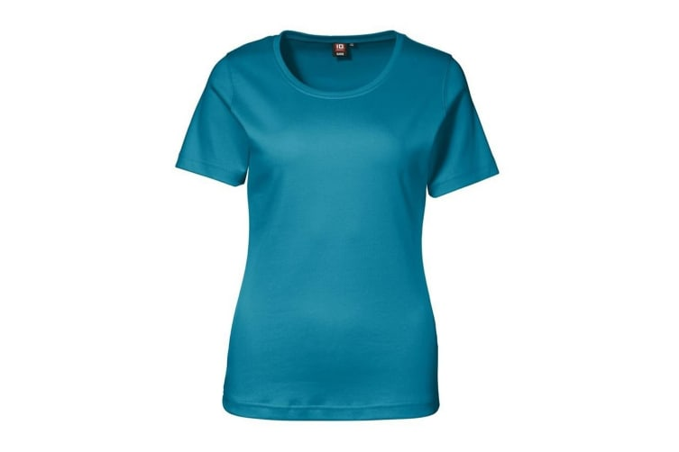 ID Womens/Ladies Interlock Fitted Short Sleeve T-Shirt (Turquoise) (S)