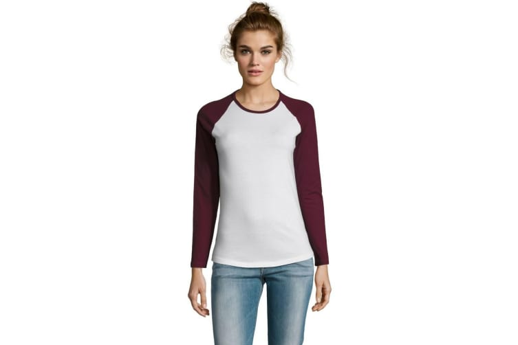 SOLS Womens/Ladies Milky Contrast Long Sleeve T-Shirt (White/Burgundy) (XL)
