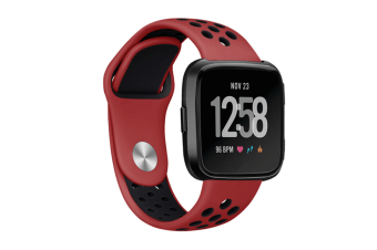 Fitbit Versa Bands Sport Silicone Breathable Strap Replacement Red&Black