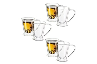 Avanti 6PC 250ml Hero Twin Wall Mug Glass Cup Tea Espresso Coffee Latte Hot Cold