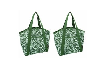 2PK Sachi 48cm Insulated Thermal Cooler Shopping Carry Picnic Bag Bohemian Green