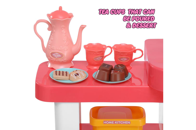 Electronic Kids Play Kitchen Toddler Cooking Set Pretend Play Toys - Pink
