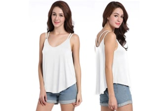 Womens Sexy V Neck Backless Strappy Tank Tops Workout Flowy Cami Blouse S