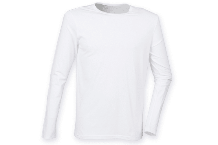 Skinnifit Mens Feel Good Long Sleeved Stretch T-Shirt (White) (M)