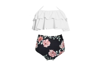 High Waisted Bathing Suit Mommy And Daughter Swimwear Bikini Sets - 2 S