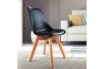Artiss Padded Retro Replica Eames DSW Dining Chairs Cafe Chair Kitchen Black x2