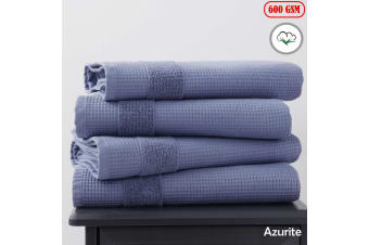 600GSM 4 Pce Waffle Cotton Bath Towels Azurite by Home Innovations