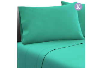 Giselle Bedding 1000TC KING Microfiber Bed Sheet Fitted Flat Pillowcases Aqua
