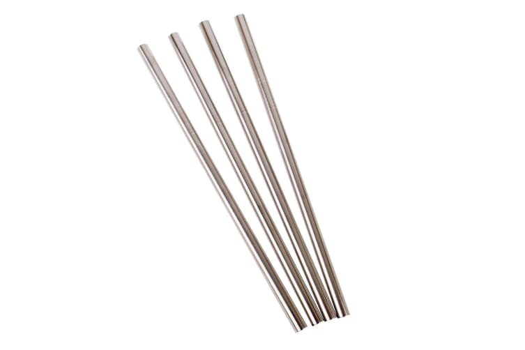 Appetito Set 4 Straight Stainless Steel Straws + Cleaning Brush