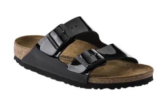Birkenstock Arizona Birko-Flor Patent Regular Fit Sandal (Black, Size 44 EU)