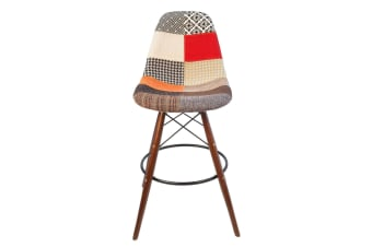 Replica Eames DSW Bar / Kitchen Stool | Multicoloured Patches Fabric Seat | Walnut Legs