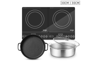 SOGA Dual Burners Cooktop Stove, 30cm Cast Iron Frying Pan Skillet and 30cm Induction Casserole