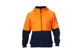 Hard Yakka Hi Vis Two-Tone Brushed Fleece Full Zip Hoodie (Orange/Navy)