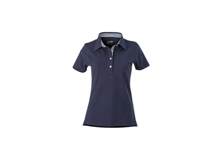 James and Nicholson Womens/Ladies Plain Polo (Navy/White) (L)