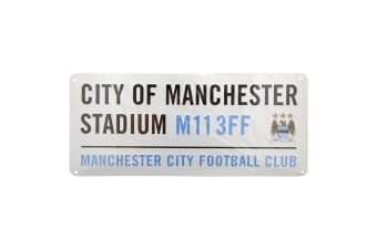 Manchester City FC Official Metal Stadium Street Sign (White)