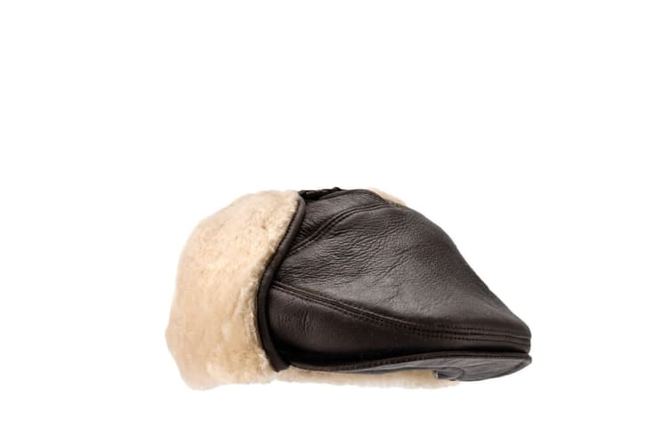 Eastern Counties Leather Mens Newton Sheepskin Nappa Finish Cap (Dark Brown Forest) (L)