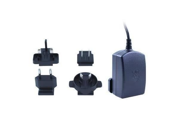 Raspberry Pi Official Black Multi Plugs In (AU EU UK US) Travel Adapter with MicroUSB Connector