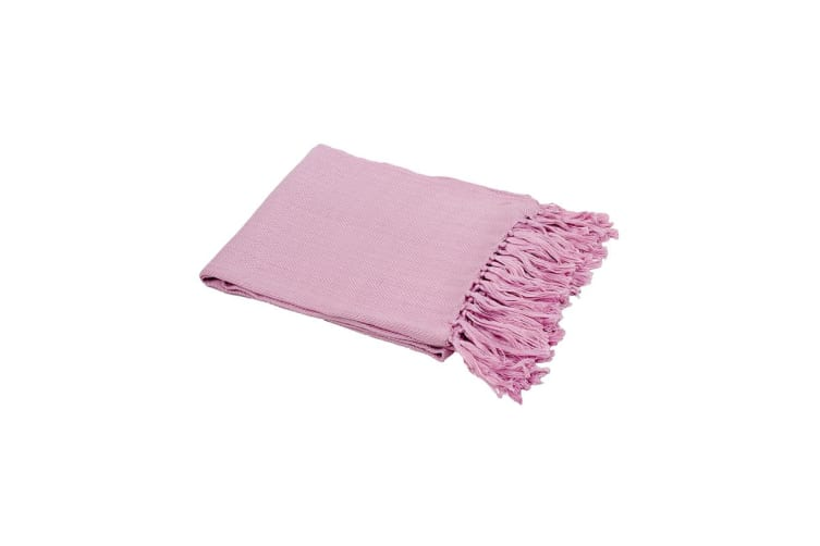 Bambury Neve Throw Rug - 130 x 150cm - Bamboo - Fringed - Lilac