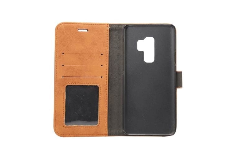 For Samsung Galaxy S9 PLUS Wallet Case Elegant Durable Sheep Leather Cover Brown