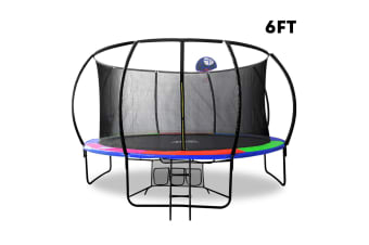 POP MASTER RAINBOW 6FT FIBERGLASS CURVED TRAMPOLINE With BASKETBALL HOOP SAFETY NET