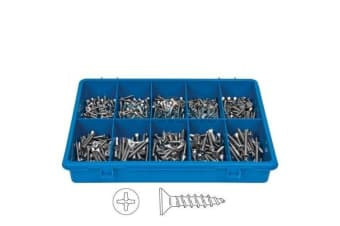 360 PCE STAINLESS STEEL PHILIPS C/SUNK SCREW ASSORTMENT FASTENER KIT BOAT 102712
