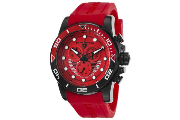 Swiss Legend Men's Avalanche Chronograph Red Dial Red Silicone (SL-21368-BB-05-RDAS)