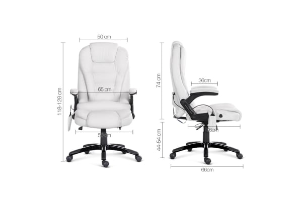 8 Point Massage Executive PU Leather Office Chair (White)