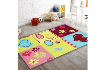 Cute Bright Childers Heart Rug Green Pink 165x115cm