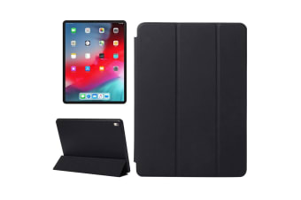 For iPad Pro 11 Inch (2018) Case Solid Color PU Leather Folio Cover Black