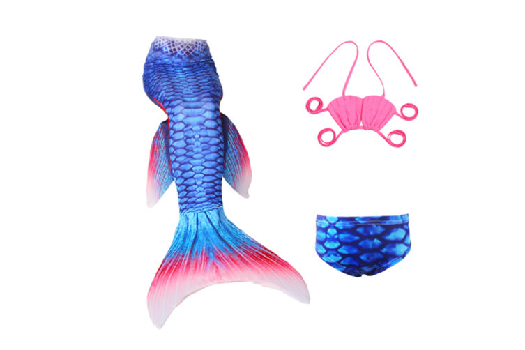 3Pcs Swimmable Mermaid Tail Kids Girls Princess Bikini Set Swimsuit Swimwear - Jp36 130